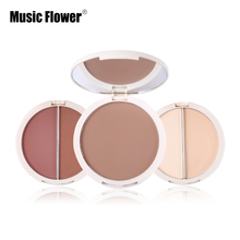 3 In 1 Press Powder & Bronzer & Blush Palette Makeup Pressed Powder Concealer Face Compact Oil-control Mineral Cosmetics(China)