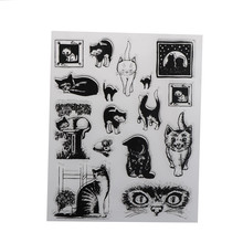 DIY Scrapbook Card album paper craft silicon rubber roller transparent stamp pet cat animal kitty(China)