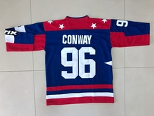 MIGHTY DUCKS D2 MOVIE TEAM USA HOCKEY JERSEY CHARLIE CONWAY #96  Stitched All Sewn BLUE