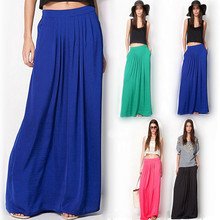 Summer Vintage Long Skirt Womens saia Elastic Waist Elegant Thin Pleate Skirt Ladies Casual Beach Solid Maxi Skirts faldas(China)