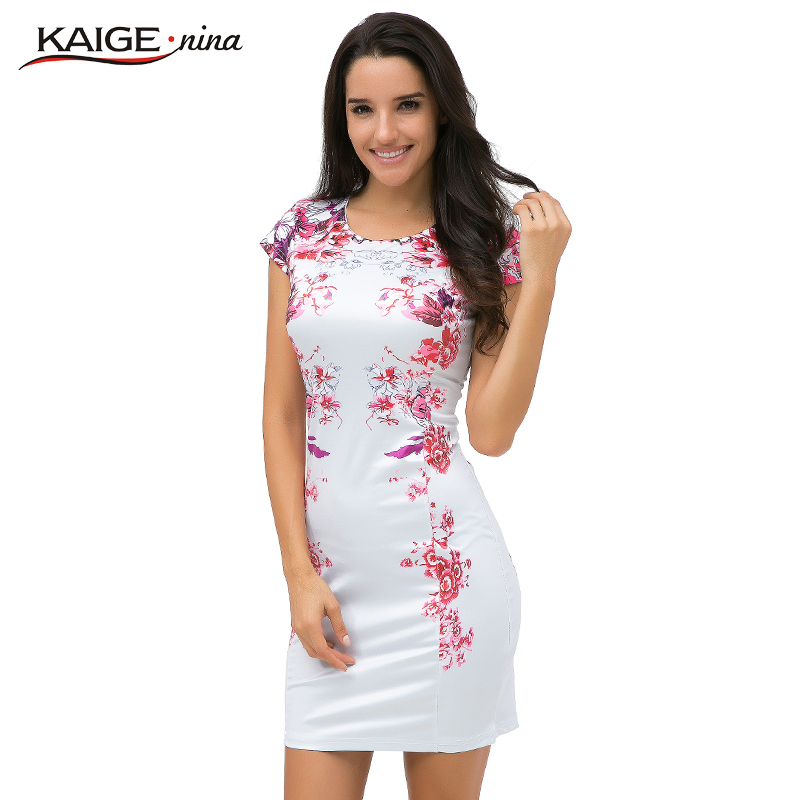 Kaige.Nina Women Summer Elegant Tartan Floral Print Tunic Work Business Casual Party Bodycon Pencil Sheath Dress 2182(China)