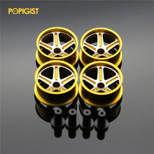 POPIGIST Mini 4wd Large Diameter Lightweight Wheels Custom Parts For Tamiya MINI 4WDColored Wheel w/Aluminum Disc L011 1Set /lot