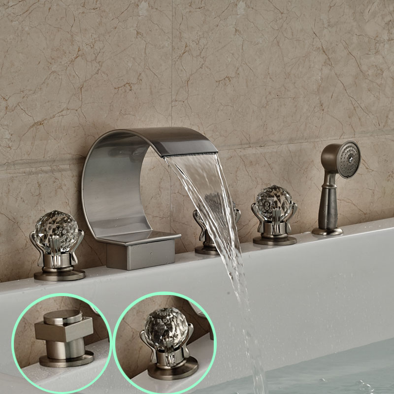 Brushed Nickel 5pcs Deck Mount Bathtub Faucet Widespread Waterfall Spout Bath Tub Mixer Filler with Handshower<br><br>Aliexpress