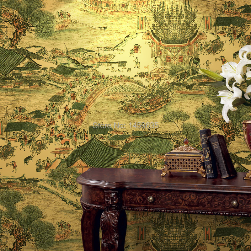 Classical Chinese Painting Gold Leaf Wallpaper The Living Room TV Backdrop Hotel Restaurant Entertainment Den Wall Decoration<br>