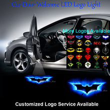 2x 3D Blue Dark Knight Batman Logo Wired Car Door Welcome Laser Projector Ghost Shadow Puddle LED Light #C0136