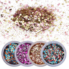 1 Box 10ml Glitter Powder Tips Pink Rose Red Colorful Ultra-thin & 1mm Mixed Powder for Beautiful Nail Art Decoration