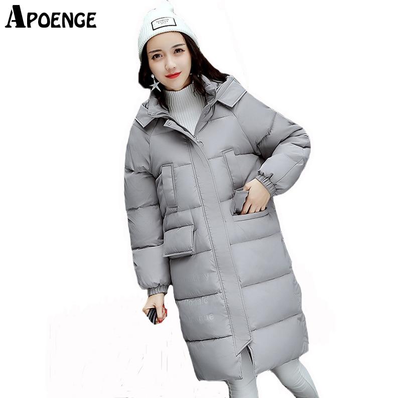 APOENGE veste femme hiver Womens Winter Jacket and Coat 2017 High Quality Letter Printed Long Hooded Cotton Parka Mujer QN572Îäåæäà è àêñåññóàðû<br><br>