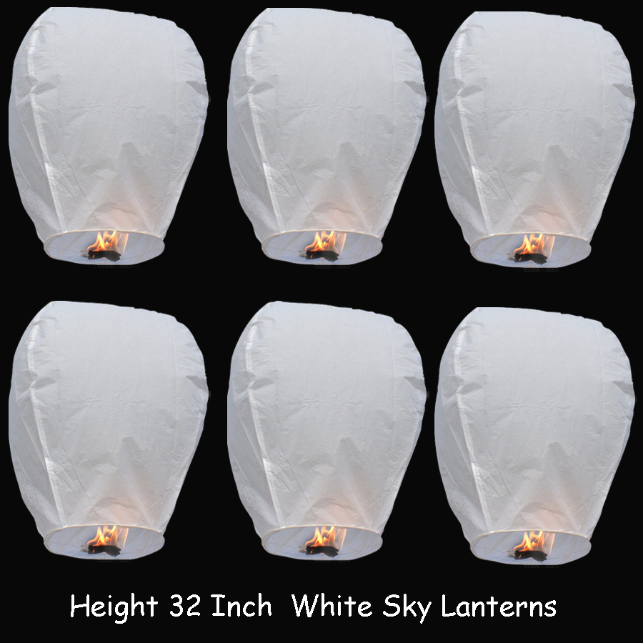 5 Pieces 32 Inch White Chinese Sky Lantern/ Flying Lantern / Fire Balloon For Wedding Party Make Wishes or Proposal(China (Mainland))