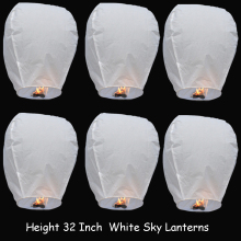 5 Pieces 32 Inch White Chinese Sky Lantern/ Flying Lantern / Fire Balloon For Wedding Party Make Wishes or Proposal(China)