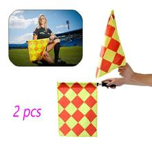 2PCS Referee Linesman Flags Rugby Soccer Hockey Football World Cup Diamond Style Signal Flag Team Sports