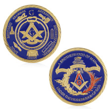 Gold Plated Masonic Brotherhood of Man Commemorative Challenge Coin Collection antique imitation home party decoration