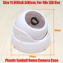 DIY Plastic IR Eyeball Dome Camera Casing White Color Ceiling Mount Case for Security CCTV Fixed Lens 48PCS IR LED Board