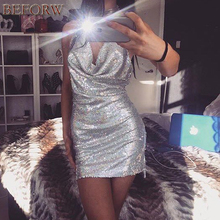 Women Sexy Sequins Dress Womens Party Night Club Dresses Metal Diamond Chain Sling Clothing Gold Silver Super Sexy Dress