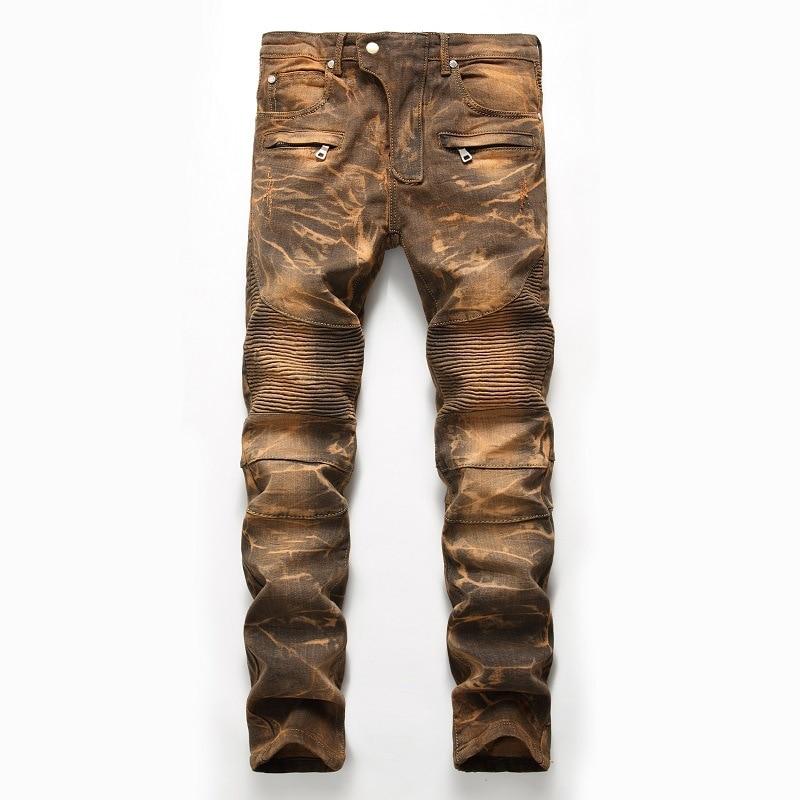 2019 Mens Skinny Jean Distressed Slim Elastic Jeans Denim Biker Jeans Hip hop Pants Washed Ripped Jeans Plus Size 28-42