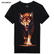 T shirt men 3D Animal 3D T shirt 100% Cotton casual T-shirt Men clothes Pattern Wolf 2016 Man sporting Hot hip hop t shirt men(China)