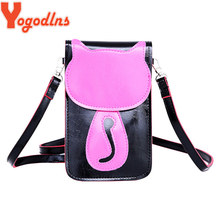 Yogodlns 2017 Women Messenger Bags Lovely Cute Cat Charcater Leather Small Crossbody Bag Fashion Casual Shoulder Phone Pouch(China)