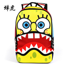 2017 New Arrival Hot spongebob cartoon embossing boys and girls students school bags travel backpacks chanhu bag famous brand