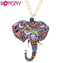 Bonsny Acrylic Jungle Elephant Necklace Cartoon Pendant Chain Collar Choker Pendant  Animal Fashion Jewelry For Women Girs New