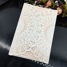 Cheap 50 Pieces/lot Laser Cutting Hollowed Flower Fashion Design invitation Cards Elegant Wedding Invitations Cards Paper Craft