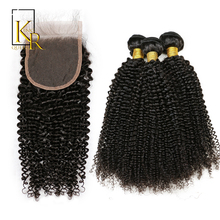 3 Bundles With Closure Remy Brazilian Kinky Curly Weave Human Hair Extension Plus 1PC Lace Closure Pre Plucked King Rosa Queen(China)