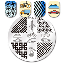 BORN PRETTY Round Stamp Plate Plane Bike Car Geometry Stamping Template 5.5cm Manicure Nail Art Image Plate BP-143(China)