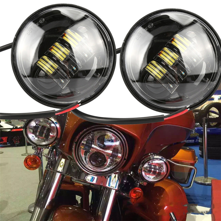 2016 NEW 2x 4.5inch Black LED Spot Fog Passing Light Lamp For  Motorcycle<br><br>Aliexpress