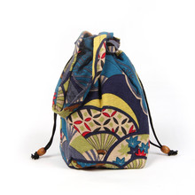New Spring Folk Style Bucket Bag Drawstring Mini Crossbody Shoulder Bag Women Phone Purse Cotton Tote Handbag(China)