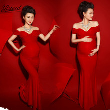 Maternity Photography Props Sexy Boat Neck Red Color Pregnant Dress Vestido Maxi Maternity Gown Shooting Photo Clothing(China)