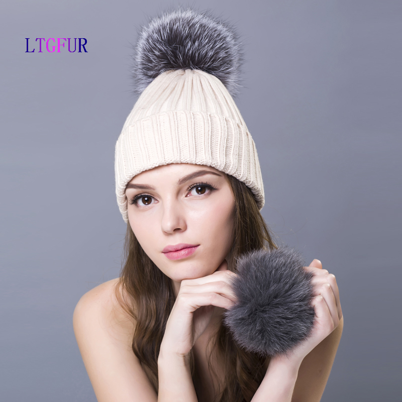 LTGFUR 2017 Fashion Winter Raccoon Fur Hats 100% Women Girls Wool Hat Knitted Cotton Beanies Cap Brand New Thick CapsОдежда и ак�е��уары<br><br><br>Aliexpress