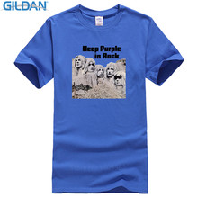 Print Tee Shirts Gildan Design O-Neck Short-Sleeve Deep Purple In Rock T Shirts For Men