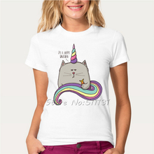 Newest 2017 Cute Cat Unicorn Design T Shirt Summer Women/Girl Harajuku Cartoon Animal T-Shirt Fashion Hipster Brand Tops Tee