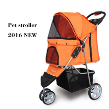 High Quality PET Stroller for Teddy Dog Three Wheel Cat Dog Strollers Simple Installation 8 Colors Orange Purple(China)