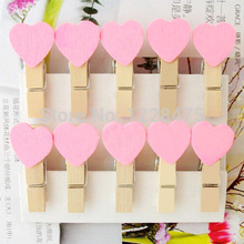 10PCS/lot New Fashion Cute Special Gift pink color Heart Wooden Clip Mini Bag Clip Paper Clip wood pegs(China)