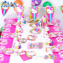 hello kitty cat 6 people kids birthday party decoration event party supplies/  kitty cat Theme Party Supplies boy Birthday Party