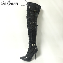 Buy Sorbern Women Boots Knee Exotic Fetish Boots Pointed Toe Thigh High Ladies Boots 12Cm Stilettos Bdsm Pole Dance Shoes