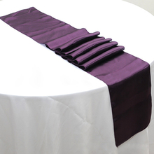 Free shipping 50pcs 30 x 275cm Eggplant Cheap Satin Table Runners For Banquet Wedding Table Decoration Party Event Supplies(China)
