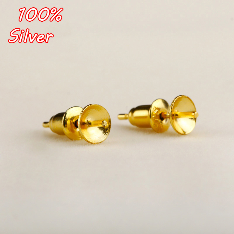20x Inner 12mm Double Orifice Ear Nut+stud Earring Blank Bezel Setting Tray Antique Bronze,silver,gold For Glass Cabochons Jewelry Findings & Components Beads & Jewelry Making