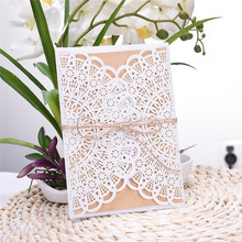4 in 1 Wedding Party Invitation Card 20pcs/set Fancy Decorative Cards Envelope Delicate Lace Cut Pattern Invitation Letter