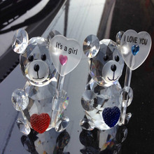 Crystal Glass Decorative Animal Teddy Bear Figurine Paperweights Crystals Crafts Figurines Home Wedding Decor Baby Shower gifts(China)