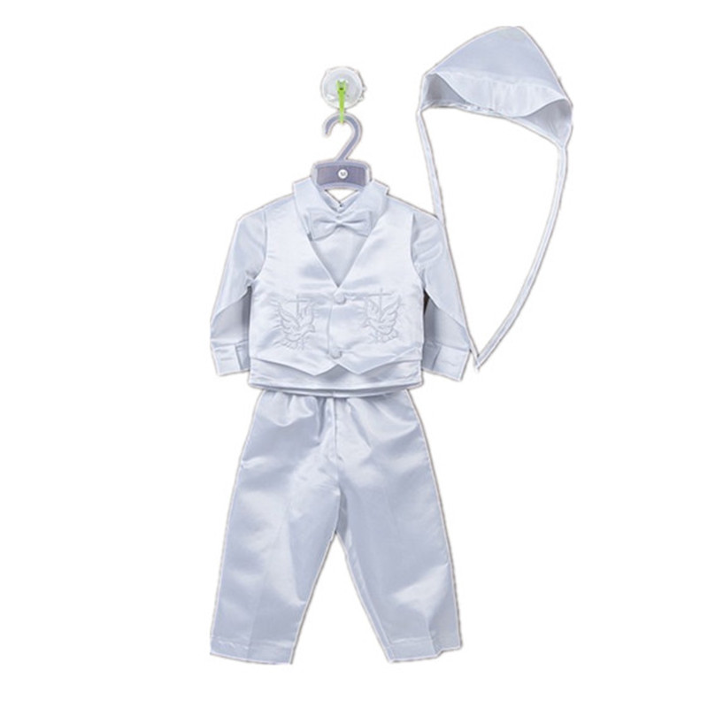BBWOWLIN 4 Pcs Cross Embroidery Baby Boys Formal White Christening Suit Set Clothes 80685B<br>