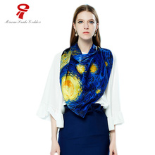 Scarf natural silk Luxury Brand Scarf Handkerchief Spring Summer Neck Scarf Soft Warp Square Female Shawl For Women bandana(China)