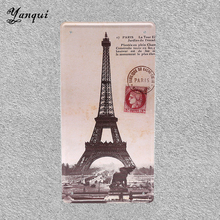 Eiffel Tower Metal Sign Decoration For Bar Club Church Library Wall Hanging Iron Plate YQ075(China)