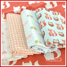 Nabi  Cotton fabric the cloth Patchwork Fabrics by the meter Super wax hollandais for furniture Soft little fox series 50*155CM
