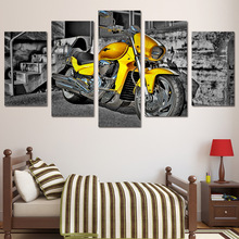 5 piece art canvas painting HD printed home room decoration yellow race motorcycle retro style picture art canvas poster ny-6041
