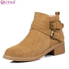 QUTAA 2018 Fashion Spring and Autumn Women Ankle Boots Zipper Suqare High Heel Round Toe Cow Suede Ladies Boots Size 34-40(China)