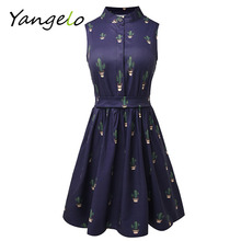 Summer Dress 2017 Women Dress flamingo dress Unicorn Cactus Prints Casual High Waist Cute A Line Mini Dresses(China)
