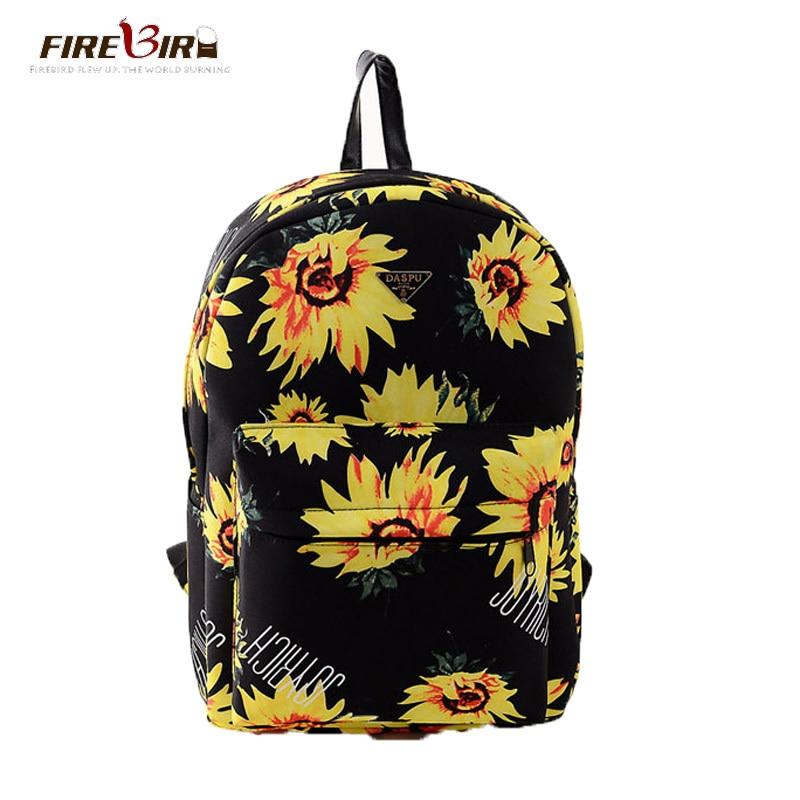 FIREBIRD!2015 New Korean version Sunflower printing canvas backpack Retro College Wind schoolbag backpacks for teenage girls H53<br><br>Aliexpress