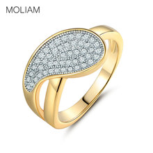 MOLIAM Costume Jewelry Rings for Womens Gold-Color Crystal Cubic Zirconia Party Ring Brand MLR234
