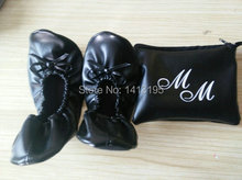 Top selling ! Free shipping customized black bowknot rolldable ballerina shoes supplier with logo printed