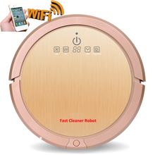 Champagne Gold Color Wet And Dry Robot Vacuum Cleaner With 3350mah Lithium Battery,150ml Water Tank,Smartphone WIFI APP Control